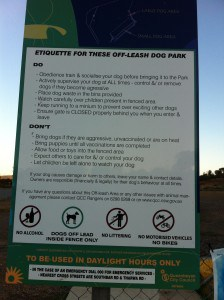 Example of dog park rules