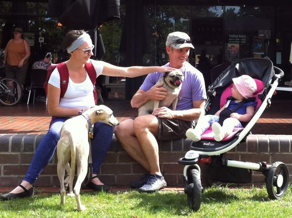 Canberra pram friendly dog walks - family with dogs