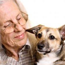 older lady with dog
